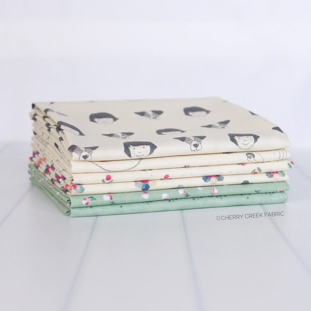 Freya & Friends Green Fat Quarter Bundle - 6 pieces