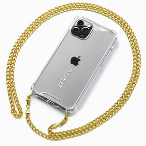 iPhone mit goldener Metall-Handykette