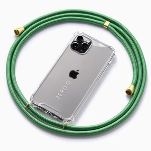 """Glossy Green"" Smartphone Necklace in Green with Gold Accents – Deluxe Edition"
