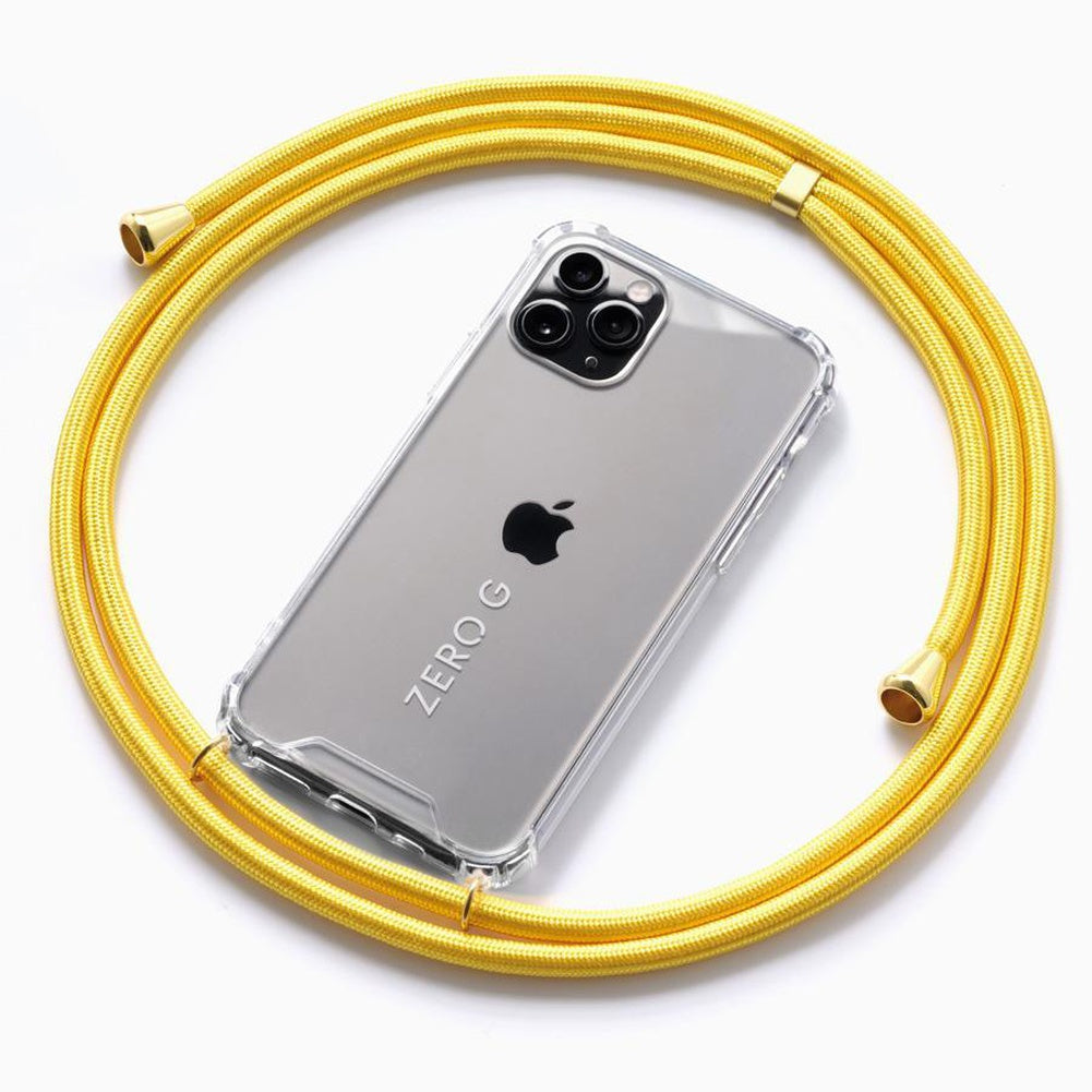 """Glossy Yellow"" Smartphone Necklace with Gold Accents – Deluxe Edition"