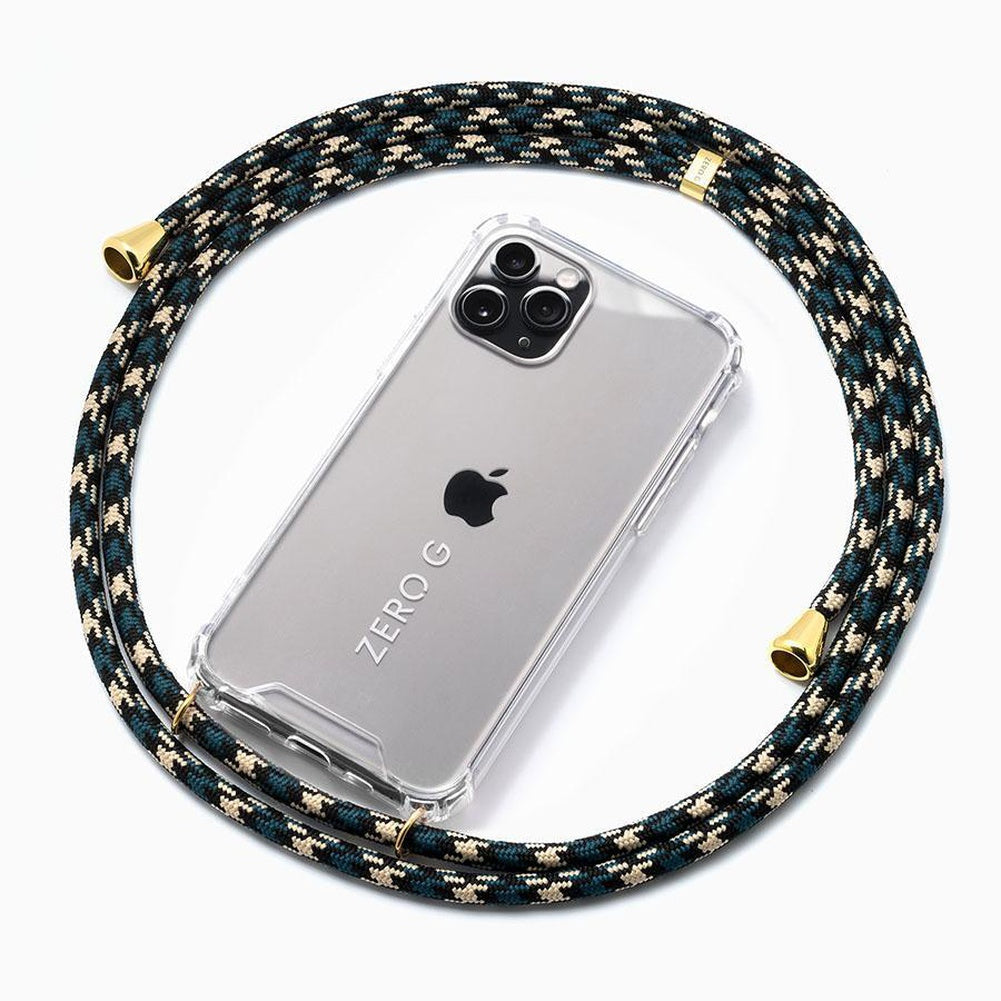 """Urban Classics"" Smartphone Necklace in Camouflage with Gold Accents"