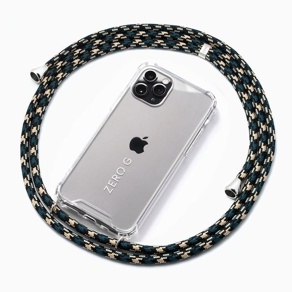 """Urban Classics"" Smartphone Necklace in Camouflage with Silver Accents"