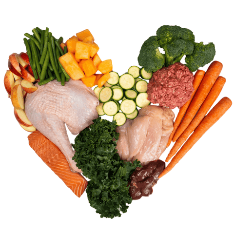 Ingredients of raw diet for dogs
