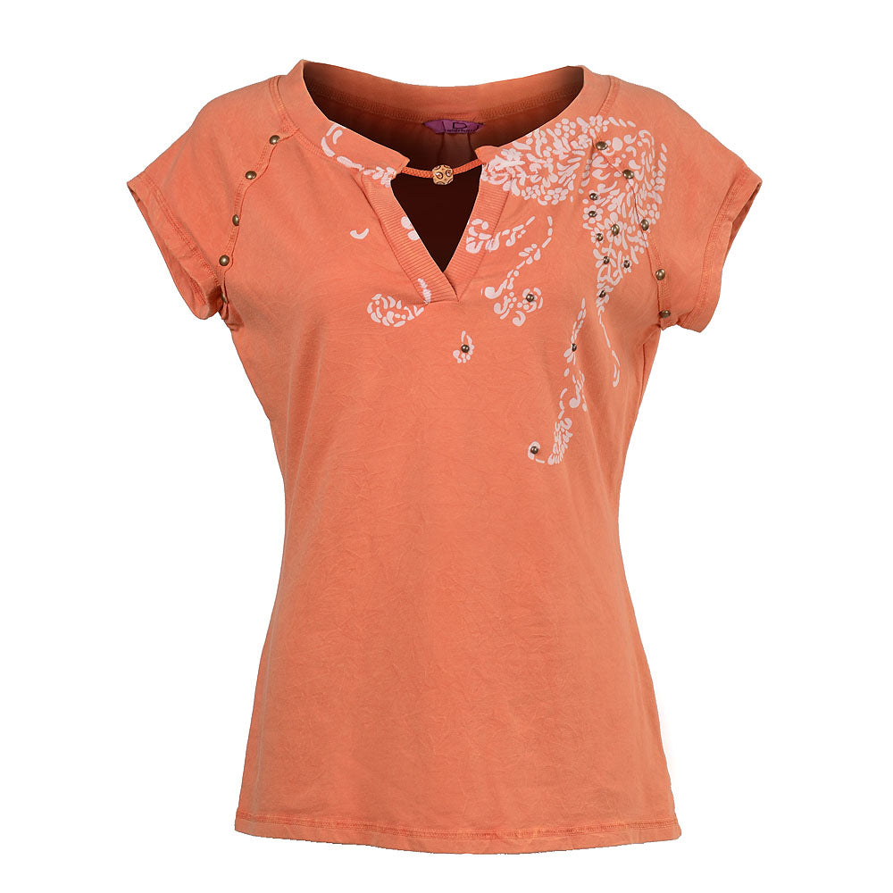 Women's Short Sleeve Print with Brass Stud Detail #10197