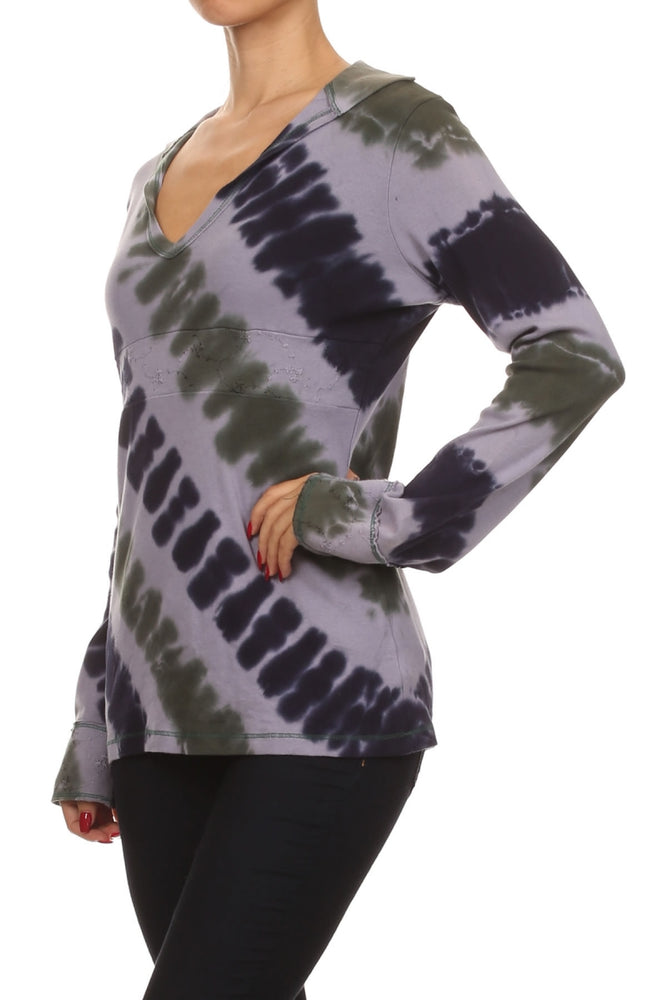 Women's V Neck Tie Dye Collared Long Sleeve Top #10279 - IDI Clothing - Where you can buy directly for the designer manufacturer-Made In USA :)
