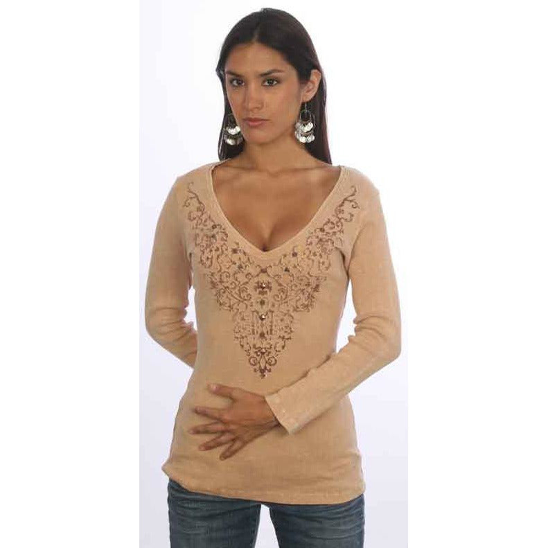 Women's Vintage Print Embellished Long Sleeve V Neck Top #10283 - IDI Clothing - Where you can buy directly for the designer manufacturer-Made In USA :)