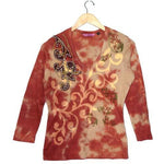Women's Embroidered 3/4 Sleeve Tie Dye Print V Neck Top #10302 - IDI Clothing - Where you can buy directly for the designer manufacturer-Made In USA :)