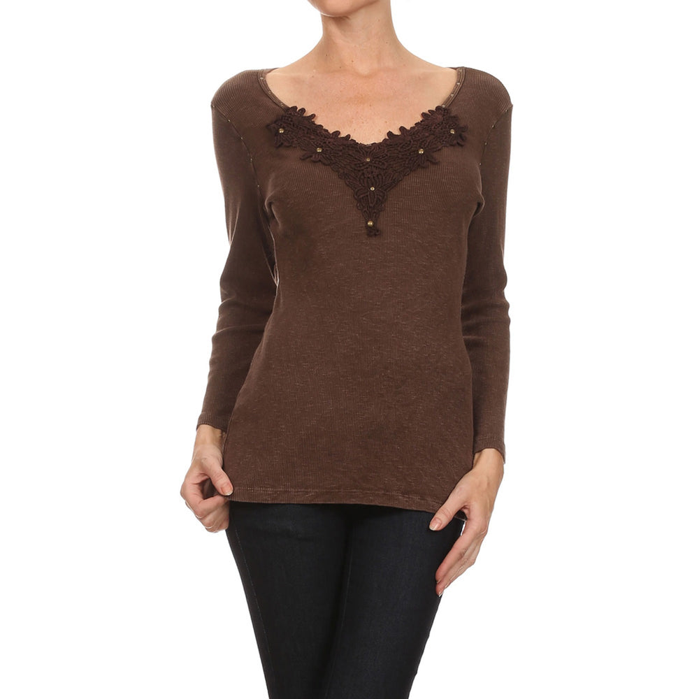 Women's Long Sleeve V-Neck Top #10305 - IDI Clothing - Where you can buy directly for the designer manufacturer-Made In USA :)