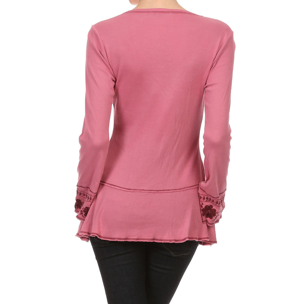 Ladies Embroidered Long Sleeve V-neck Top