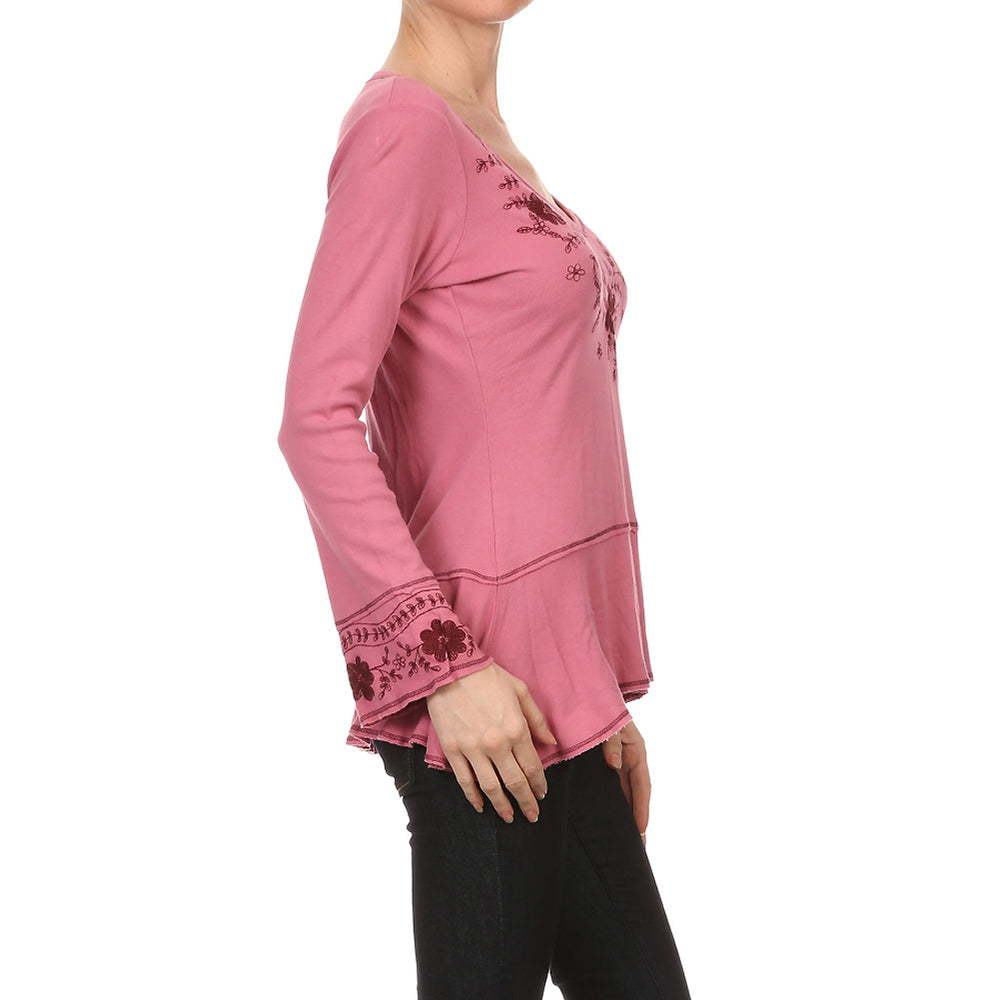 Women's Embroidered Long Sleeve V-neck Top #10306 - IDI Clothing - Where you can buy directly for the designer manufacturer-Made In USA :)