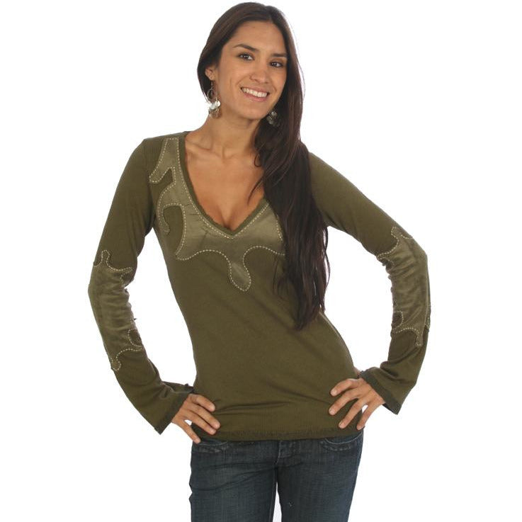 Women's Patched V Neck Long Sleeve Top #10377 - IDI Clothing - Where you can buy directly for the designer manufacturer-Made In USA :)