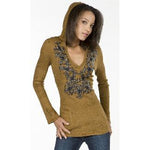 Women's Ancient Leather Patch Embroidery on A Cotton Tie Dye Hoodie  #10381
