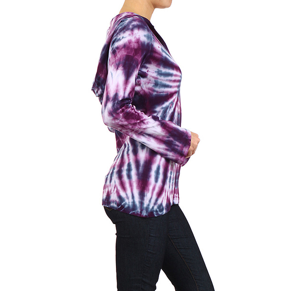 Women's Tie Dye Long Sleeve Hoodie Top #10440 - IDI Clothing - Where you can buy directly for the designer manufacturer-Made In USA :)