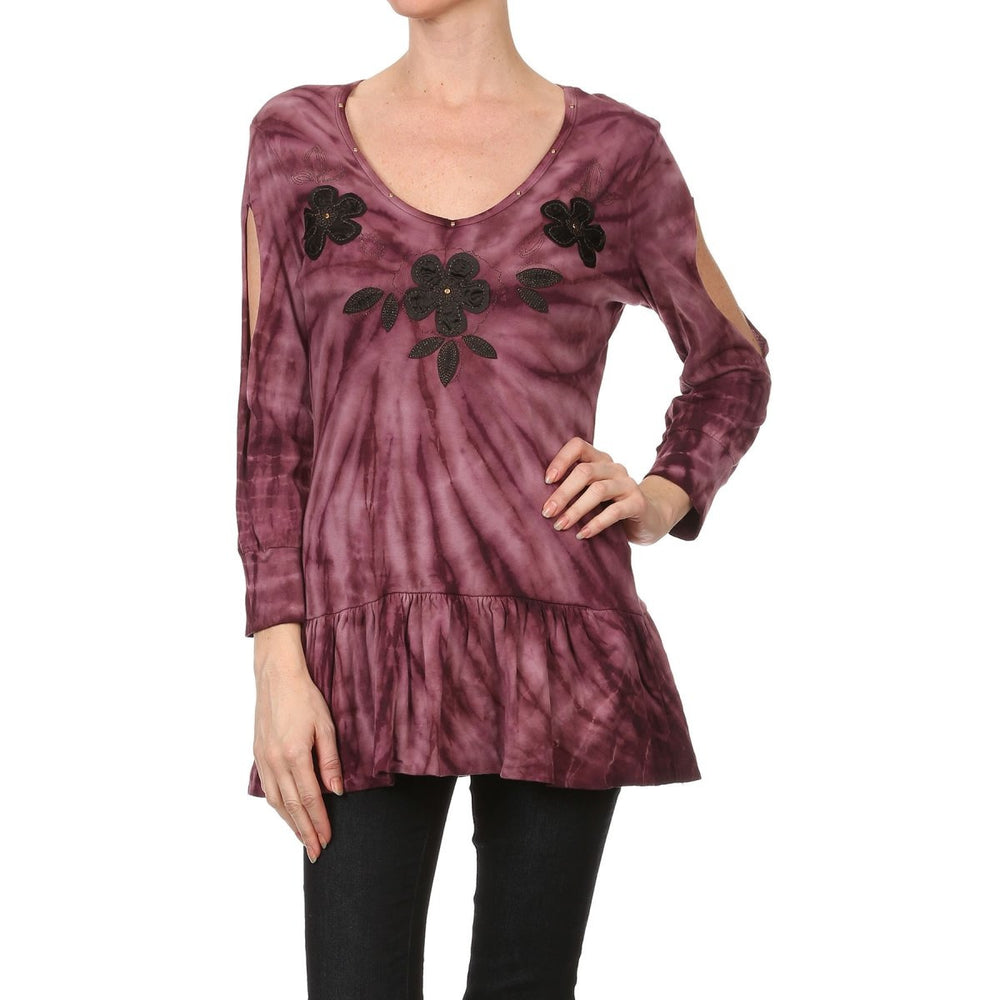 Women's 3/4 Sleeve Tie Dye Flower Patch Top #10450 - IDI Clothing - Where you can buy directly for the designer manufacturer-Made In USA :)