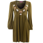 Women's Embroidered Floral Long Sleeve Tunic #10456  Made In USA - IDI Clothing - Where you can buy directly for the designer manufacturer-Made In USA :)