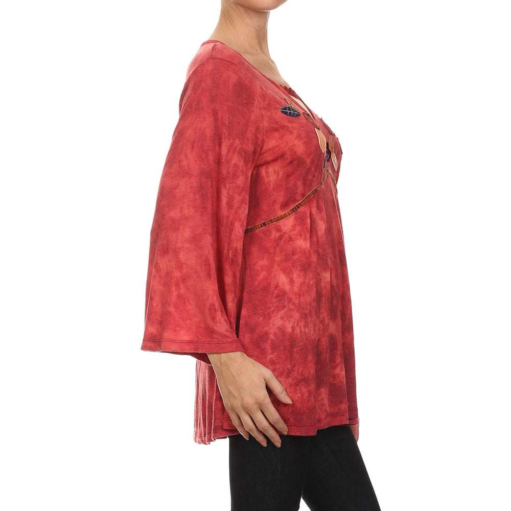 Women's Embellished and Tie Dye  Empire Waist knit Top #10460CHF Red Made In USA - IDI Clothing - Where you can buy directly for the designer manufacturer-Made In USA :)