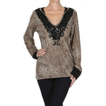 Women's Long Sleeve Leopard Hooded Knit Sweater Embellished V Neck #10498