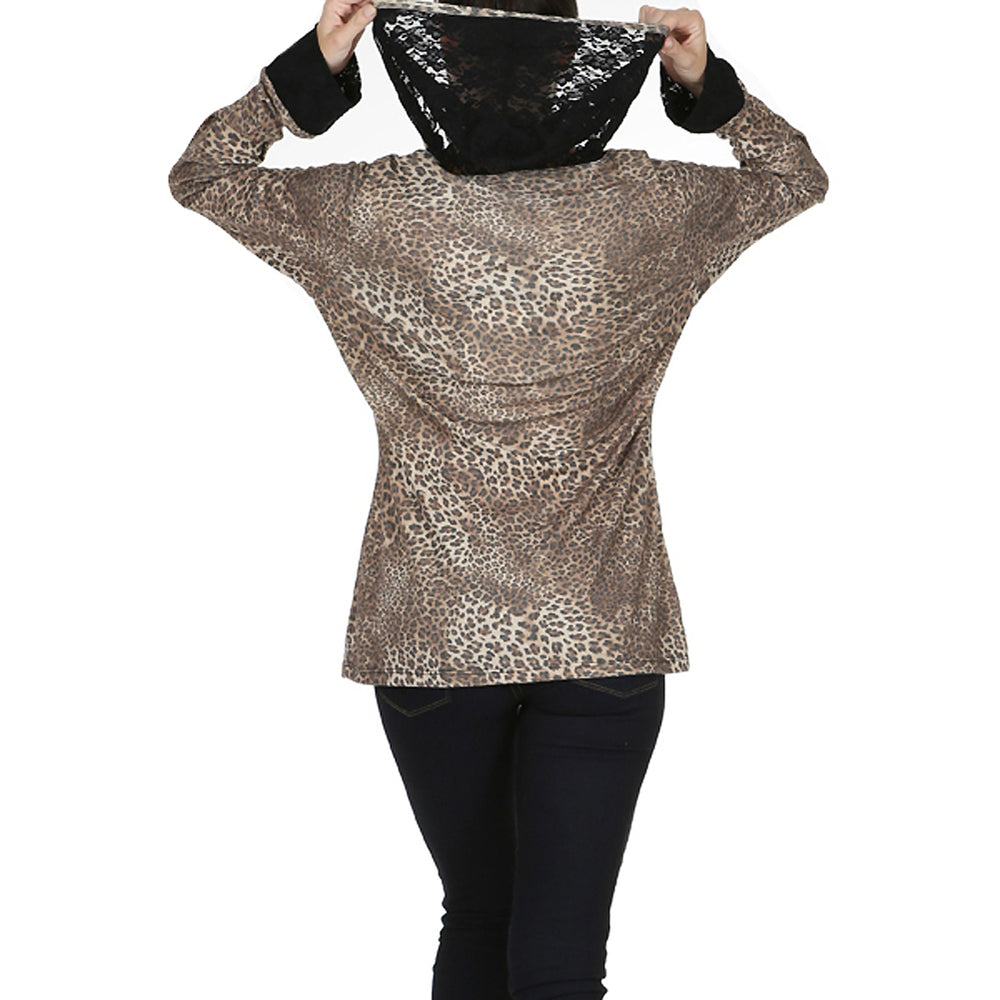 Ladies Long Sleeve Leopard Hooded Top