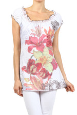 Women's Printed Short Sleeve Top #10626 - IDI Clothing - Where you can buy directly for the designer manufacturer-Made In USA :)
