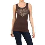 Women's Heart Tee-Tank Top-Bracken Brown #10676 - IDI Clothing - Where you can buy directly for the designer manufacturer-Made In USA :)