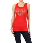 Heart Designs Tee-Tank Top- Rough-Red #10676HS Made In USA - IDI Clothing - Where you can buy directly for the designer manufacturer-Made In USA :)