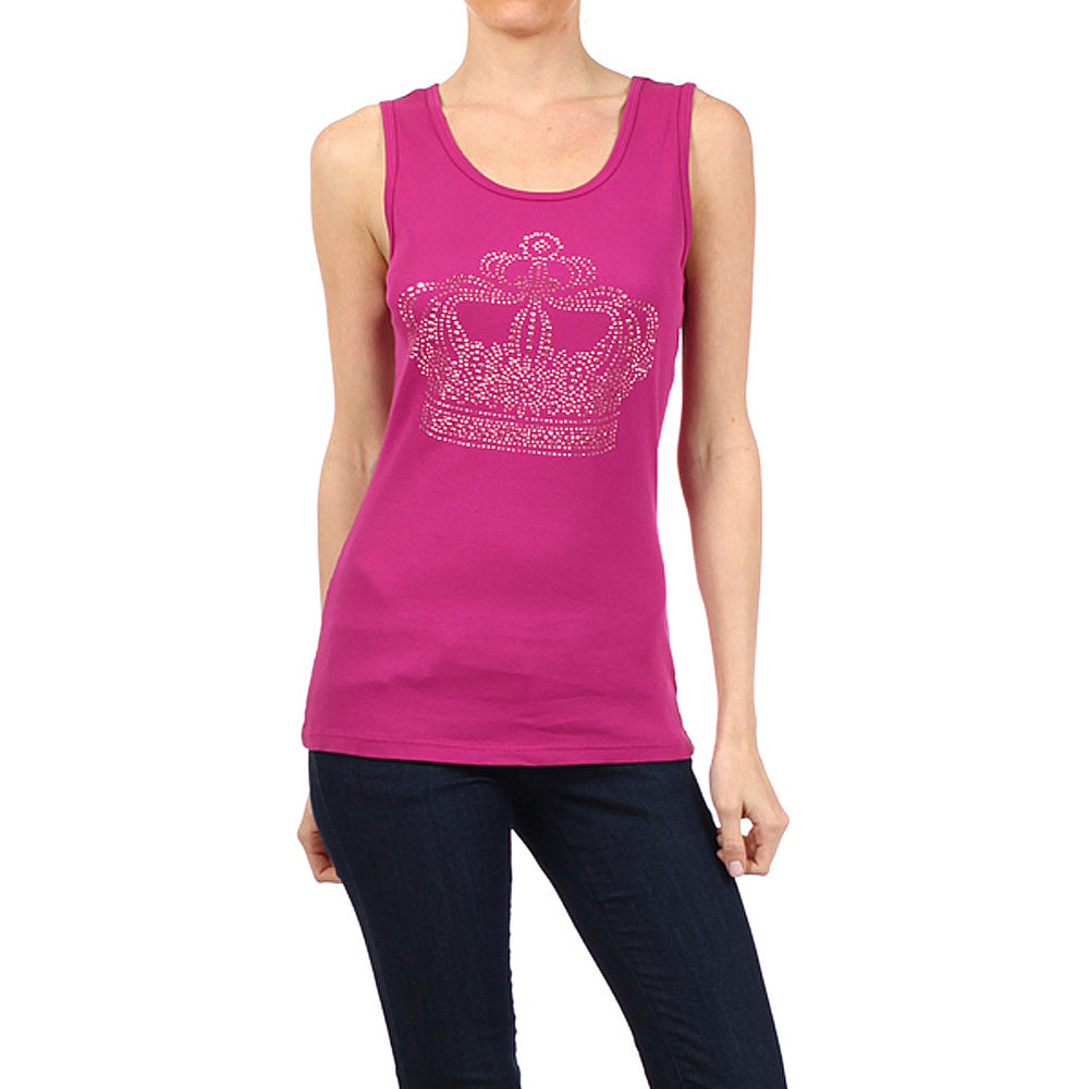 Women's Crown Tee-Tank Top #10676TC Magenta Red Made In USA