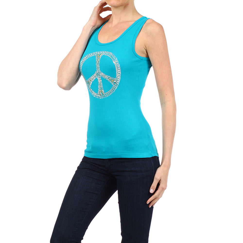 Women's Peace Sign Tee Tank Top  #10676TSP Turq Blue Made In USA - IDI Clothing - Where you can buy directly for the designer manufacturer-Made In USA :)