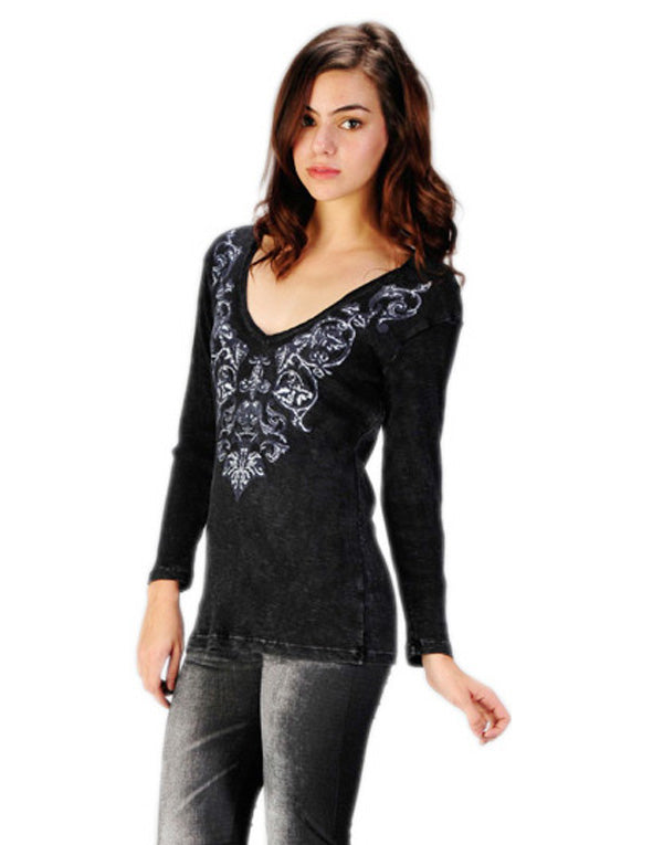 Women's 3/4 Sleeve Vintage Print V Neck Top #10712 - IDI Clothing - Where you can buy directly for the designer manufacturer-Made In USA :)