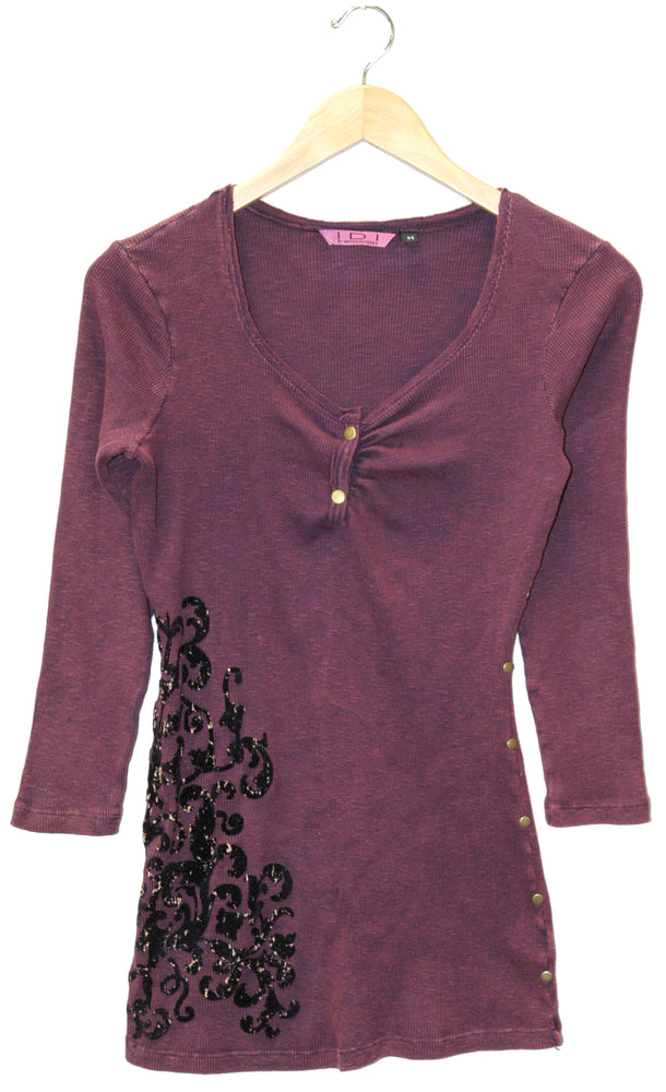 Women's 3/4 Long Sleeve Vintage Print Top #10713 - IDI Clothing - Where you can buy directly for the designer manufacturer-Made In USA :)