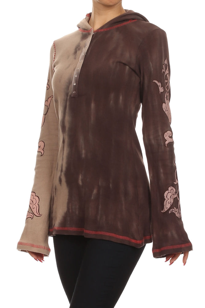 Women's Tie Dye Long Sleeve Embroidered Hoodie Top #10715 - IDI Clothing - Where you can buy directly for the designer manufacturer-Made In USA :)