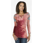 Women's Criss Cross Drawstring Neckline 3/4 Sleeve Top #10716
