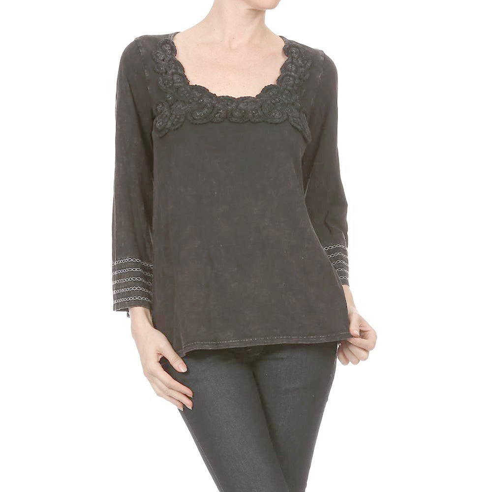 Women's Knit TOP  Mineral Wash with Neck Crochet Trim  #10741 Black Made In USA.