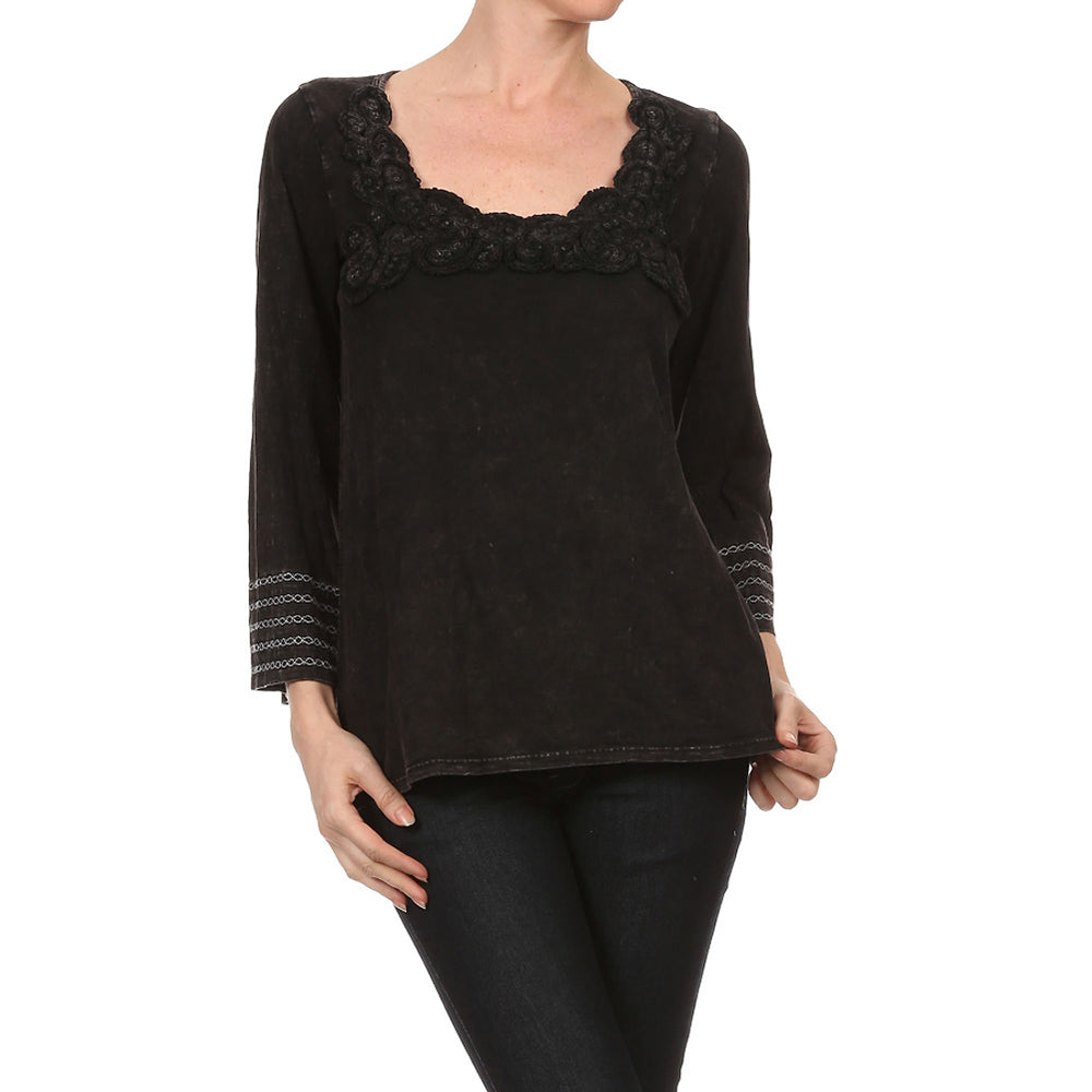 Women's Mineral Wash Embroidered Top #10741 - IDI Clothing - Where you can buy directly for the designer manufacturer-Made In USA :)