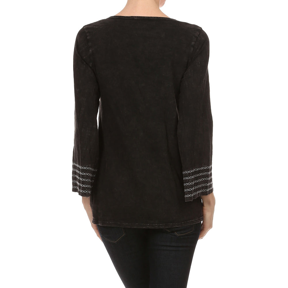 Women's Knit TOP  Mineral Wash with Neck Crochet Trim  #10741 Black Made In USA. - IDI Clothing - Where you can buy directly for the designer manufacturer-Made In USA :)