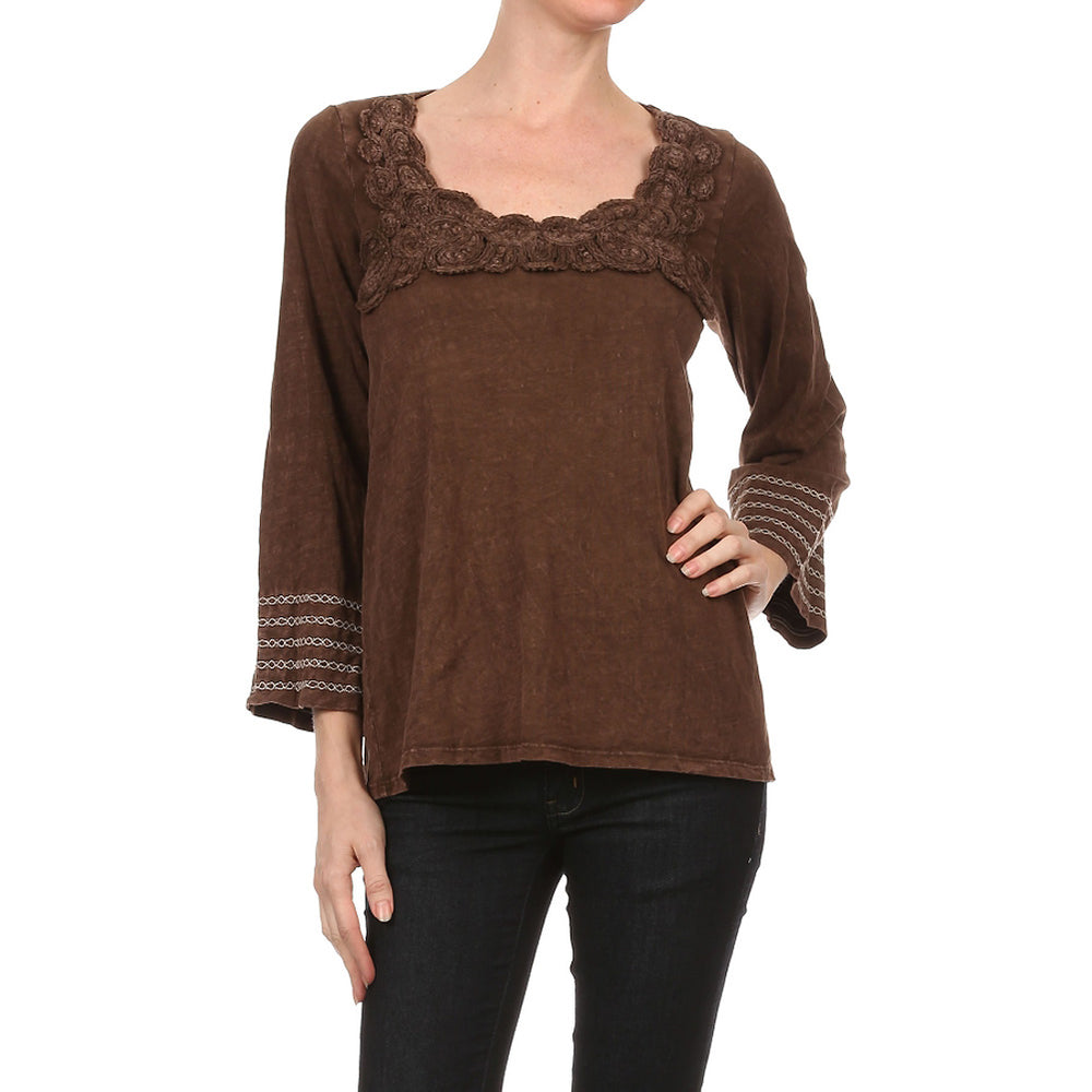 Women's Knit TOP  Mineral Wash with Neck Crochet Trim  #10741 Coffee Bean Made In USA.