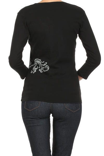 Women's Embroidered Print 3/4 Sleeve Top #10793 - IDI Clothing - Where you can buy directly for the designer manufacturer-Made In USA :)