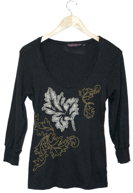 Women's Long Sleeve Leaf Design Embroidered Top #10797 - IDI Clothing - Where you can buy directly for the designer manufacturer-Made In USA :)