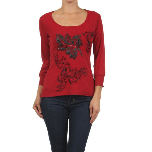Women's Long Sleeve Leaf Design Embroidered Top #10797