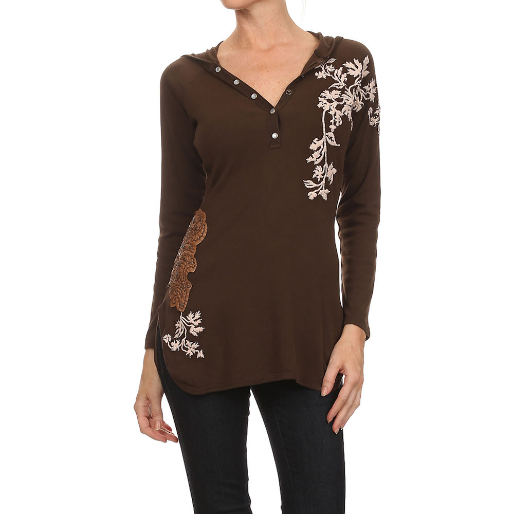 Women's Embroidered Long Sleeve Hoodie Top #10800