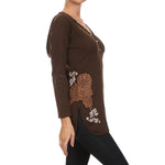 Women's Embroidered Long Sleeve Hoodie Top #10800 - IDI Clothing - Where you can buy directly for the designer manufacturer-Made In USA :)