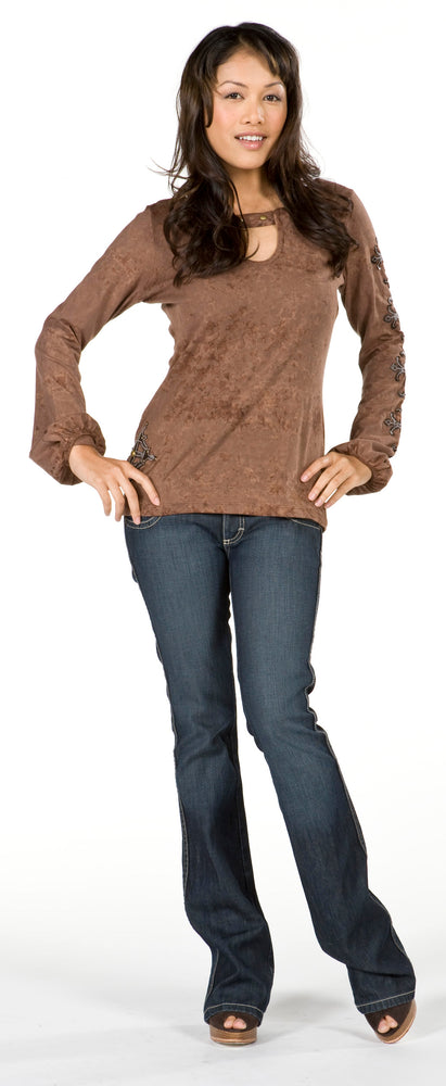 Women's Embroidered Adjustable Neckline Long Sleeve Top #10807 - IDI Clothing - Where you can buy directly for the designer manufacturer-Made In USA :)