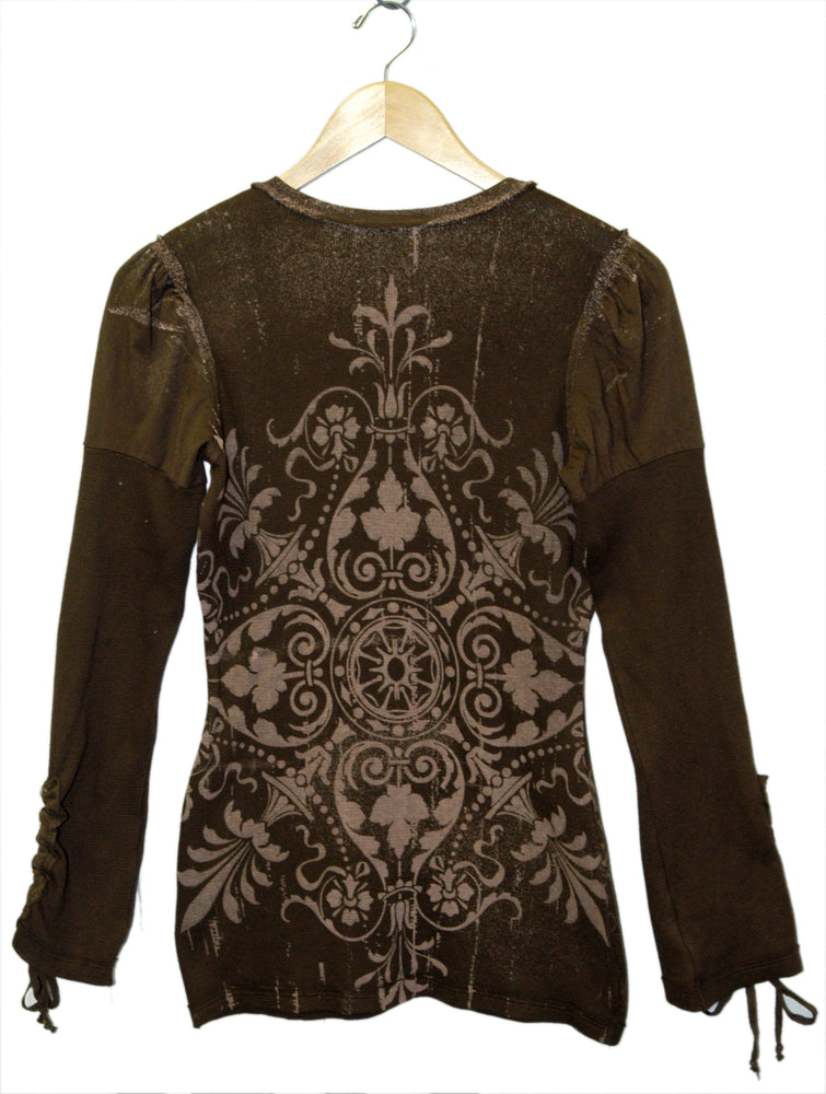 Women's Drawstring Sleeve Print Embroidered V Neck Top #10818 - IDI Clothing - Where you can buy directly for the designer manufacturer-Made In USA :)