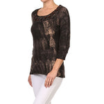 Women's Snake Print Jeweled 3/4 Sleeve Top #10859 - IDI Clothing - Where you can buy directly for the designer manufacturer-Made In USA :)
