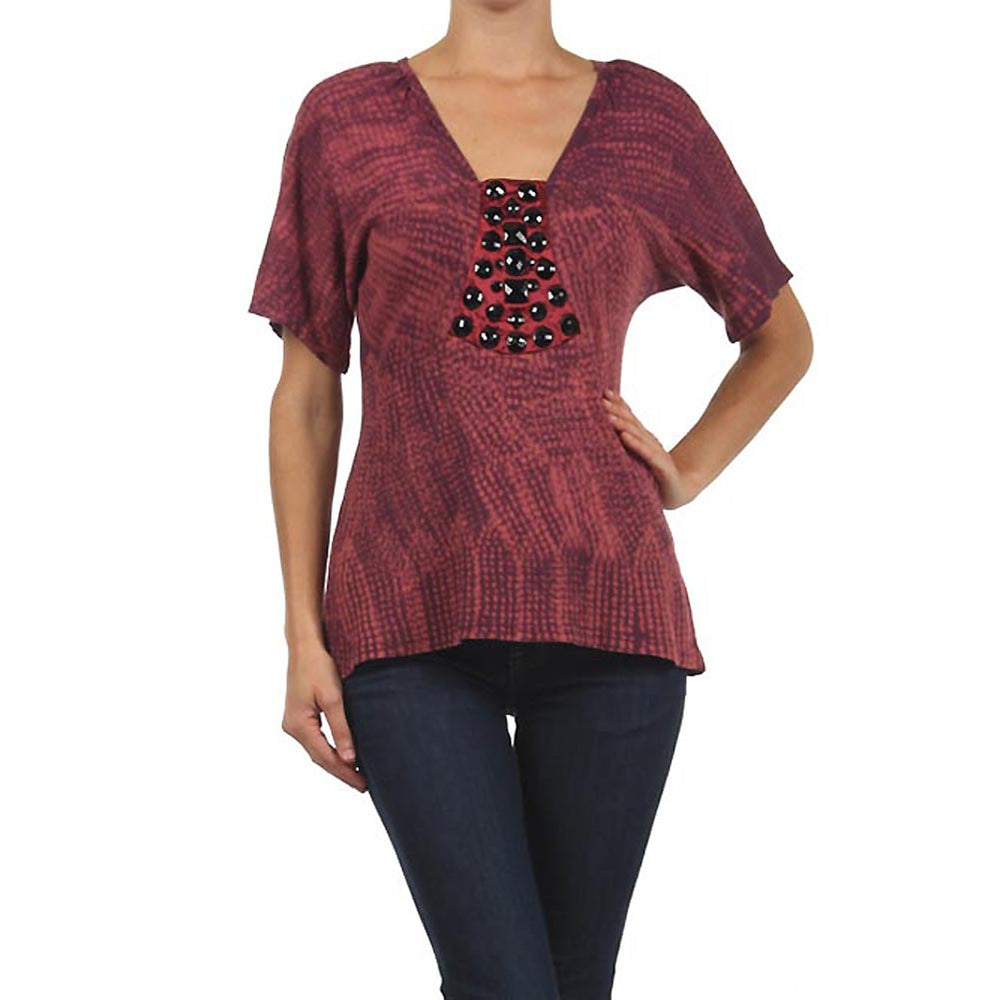 Women's Jewel Embellished V-Neck Ruby Red Tie Dye Top #10860 DPRW Made In USA