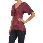Women's Jewel Embellished V-Neck Tie Dye Top #10860 - IDI Clothing - Where you can buy directly for the designer manufacturer-Made In USA :)