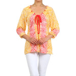 Women's 3/4 Sleeve Peasant Floral Top #10898