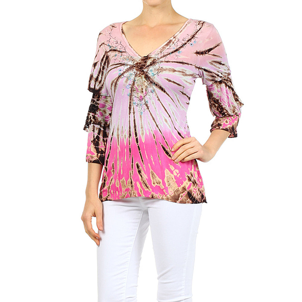 Women's Tie Dye 3/4 Sleeve V-Neck Top #10903 Made In USA - IDI Clothing - Where you can buy directly for the designer manufacturer-Made In USA :)