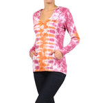 Women's Tie Dye V-Neck Hoodie Top #10908 - IDI Clothing - Where you can buy directly for the designer manufacturer-Made In USA :)