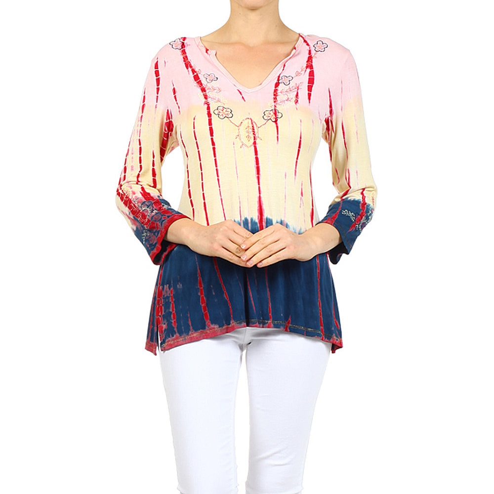 Women's Tie Dye Print V Neck Top #10909 - IDI Clothing - Where you can buy directly for the designer manufacturer-Made In USA :)