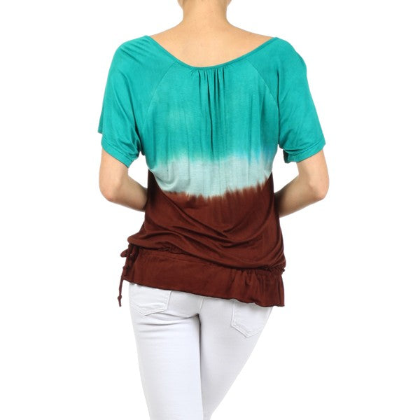 Women's Ombre Tie Dye Short Sleeve Top #10972MB Made In USA. - IDI Clothing - Where you can buy directly for the designer manufacturer-Made In USA :)